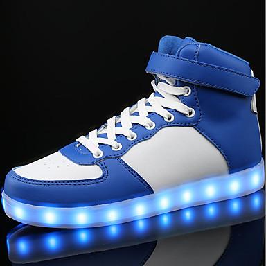 Fiú Cipő PU Tavasz / Ősz Kényelmes Tornacipők Fűző / LED mert Fehér / Fekete / Kék
