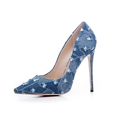 Eté Basique de Chaussures Aiguille jean 06285093 Bout Escarpin Noir pointu de Talon Volants Toile Femme à Bleu Chaussures Printemps Talons q0EXWw4