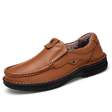 Herren Schuhe Echtes Leder Nappaleder Leder Frühling Herbst Komfort Leuchtende Sohlen formale Schuhe Tauchschuhe Loafers & Slip-Ons Für