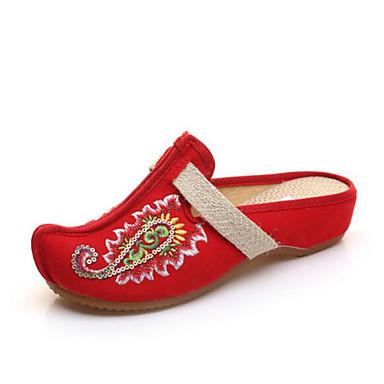 Damen Schuhe Stoff Frühling Komfort Slippers & Flip-Flops Für Normal Schwarz Beige Rot