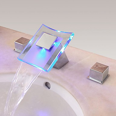 Kortárs Modern stílus LED Elterjedt Vízesés Réz szelep Két fogantyú három lyuk Króm, Fürdőszoba mosogató csaptelep