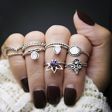Women's Stackable Ring / Rings Set - Alloy Crown Vintage, Fashion 8 Silver / Golden For Daily
