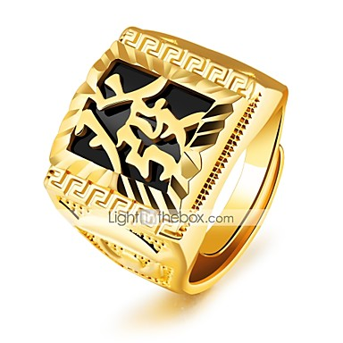 Men's Band Ring - Gold Plated Statement, Luxury, Classic Adjustable Gold For Wedding Party Gift