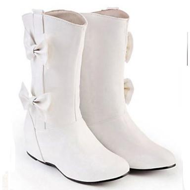 Damen Schuhe PU Winter Modische Stiefel Stiefel Keilabsatz Booties / Stiefeletten Für Normal Weiß Schwarz Rot Mandelfarben