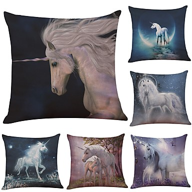 6 pcs Linen Cotton/Linen Pillow Case Pillow Cover, Textured Beach Style Bolster Traditional/Classic