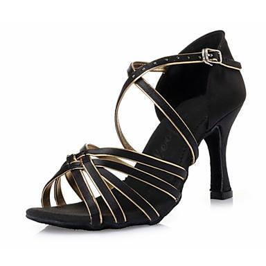 Női Latin cipők Selyem Magassarkúk Csokornyakkendő Tűsarok Dance Shoes Fekete és arany / Otthoni / Bőr