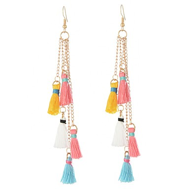 Women's Tassel Drop Earrings - Tassel, Bohemian, Fashion Pink For Party / Daily / Oversized