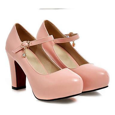 Damen Schuhe PU Sommer Pumps High Heels Blockabsatz Mit Für Normal Weiß Schwarz Rosa