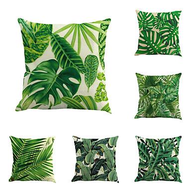 6 pcs Cotton / Linen Pillow Cover / Pillow Case, Botanical / Novelty / Classic Classical / Retro / Traditional / Classic