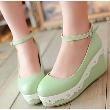 Damen Schuhe PU Herbst Komfort High Heels Für Normal Weiß Grün Rosa