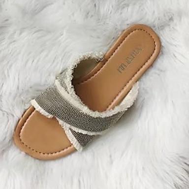 Damen Schuhe PU Frühling Sommer Leuchtende Sohlen Komfort Sandalen Flacher Absatz Offene Spitze für Kleid Gold Silber