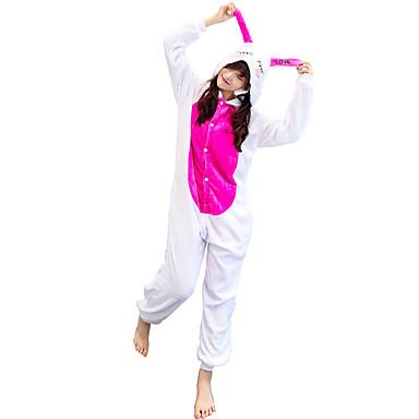 Adults' Kigurumi Pajamas Rabbit Bunny Onesie Pajamas Costume Flannelette White Cosplay For Animal Sleepwear Cartoon Halloween Festival / Holiday / Christmas