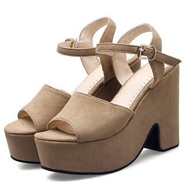 Damen Schuhe Wildleder Frühling Sommer Komfort High Heels Für Normal Schwarz Beige