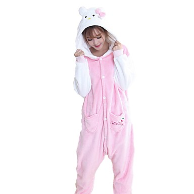 Adults' Kigurumi Pajamas Cat Onesie Pajamas Flannel Fabric Pink Cosplay For Men and Women Animal Sleepwear Cartoon Halloween Festival / Holiday