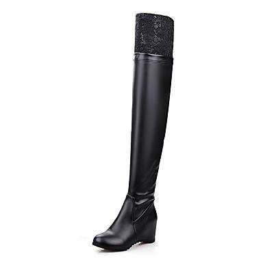 Damen Stiefel Modische Stiefel Slouch Stiefel Kunstleder Winter Normal Kleid Spitze Kombination Keilabsatz Weiß Schwarz 5 - 7 cm