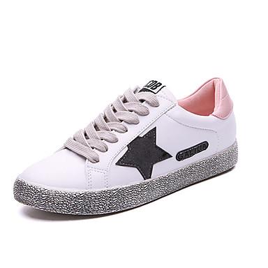 Damen Schuhe Stoff Frühling / Herbst Komfort Sneakers Flacher Absatz Runde Zehe Schnürsenkel für Sportlich / Draussen / Kleid Schwarz /