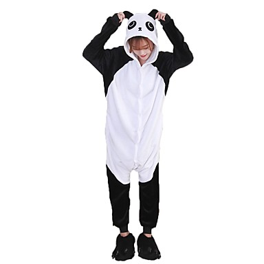 Adults' Kigurumi Pajamas with Slippers Panda Onesie Pajamas Costume Flannel Fabric Black / White Cosplay For Animal Sleepwear Cartoon Halloween Festival / Holiday / Christmas