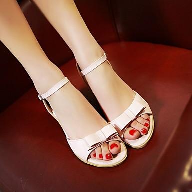 Damen Sandalen Komfort PU Sommer Normal Flacher Absatz Hellblau Leicht Rosa Unter 2,5 cm