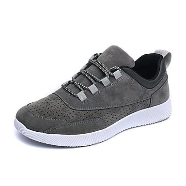 Herren Sneaker Walking Komfort Nubukleder Frühling Sommer Herbst Winter Normal Flacher Absatz Schwarz Grau Flach
