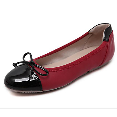 Damen Schuhe Echtes Leder Frühling Sommer Komfort Flache Schuhe Für Normal Schwarz Rot Mandelfarben