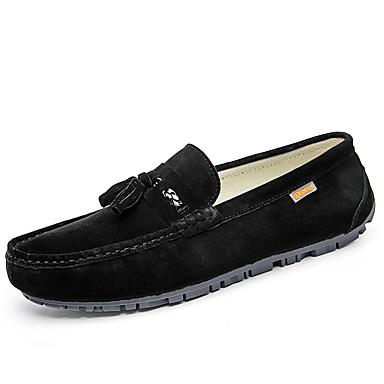 Férfi cipő PU Tavasz Ősz Kényelmes Papucsok & Balerinacipők Ráncolt mert Hétköznapi Fekete Szürke Barna Khakizöld