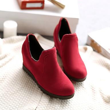 Damen Schuhe Nubukleder PU Frühling Herbst Komfort Stiefel Für Normal Schwarz Grau Rot