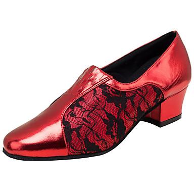Női Latin cipők Műbőr Szandál Teljesítmény Csipke Vaskosabb sarok Személyre szabható Dance Shoes Piros