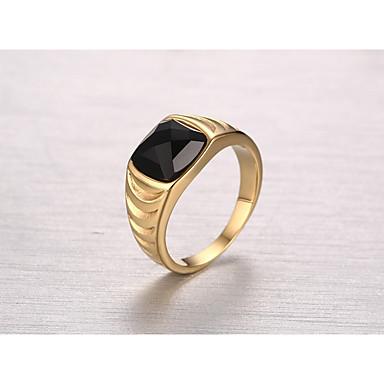 Férfi Obszidián Band Ring - Arany / Esküvő / Eljegyzés / Napi