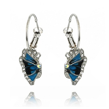 Women's Synthetic Sapphire Geometric Drop Earrings - Zircon Floral / Botanicals Elegant Royal Blue For Party / Gift / Evening Party