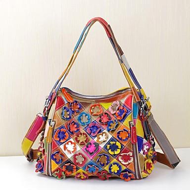 Women's Bags Cowhide Tote Appliques / Flower / Plaid Rainbow