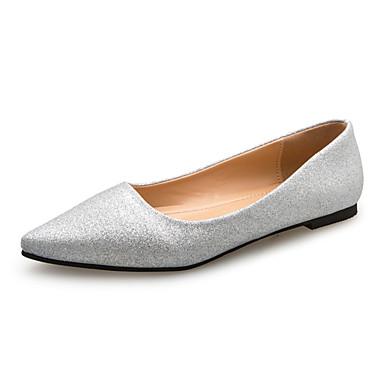 Damen Schuhe PU Frühling Sommer Komfort High Heels Flacher Absatz Spitze Zehe für Kleid Party & Festivität Gold Schwarz Silber