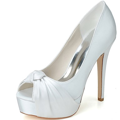 Női Cipő Szatén Tavasz Nyár Formai cipő Esküvői cipők Tűsarok Köröm mert Esküvő Party és Estélyi Fehér Kék