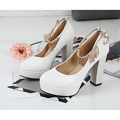 Mujer Zapatos PU Otoño / Invierno Confort Tacones Talón de bloque Dedo Puntiagudo Hebilla / Borla Blanco / Negro / Vestido F7tO0ZMEl