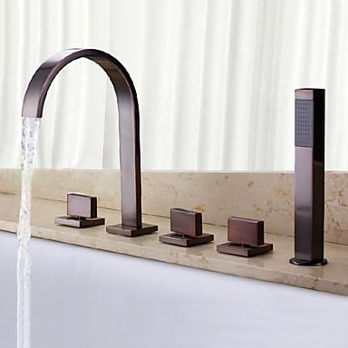 Badewannenarmaturen - Antike Klassisch Öl-riebe Bronze 3-Loch-Armatur Messingventil