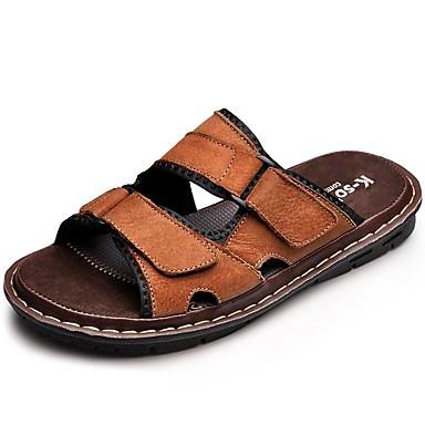 Homens sapatos Pele Primavera Verão Outono Conforto Chinelos e flip-flops Água para Casual Ao ar livre Social Preto Castanho Claro