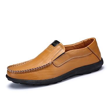 Férfi cipő PU Tavasz Ősz Kényelmes Papucsok & Balerinacipők Ráncolt mert Hétköznapi Fekete Barna