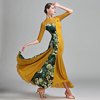 Für den Ballsaal Damen Tüll Lycra Eis-Seide Muster / Druck Farbaufsatz Halbe Ärmel Normal Kleid