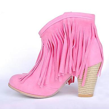 Damen Schuhe PU Herbst Winter Komfort Stiefel Keilabsatz Runde Zehe Für Normal Braun Rot Rosa
