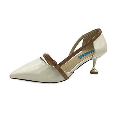 Damen Schuhe PU Sommer Komfort High Heels Walking Stöckelabsatz Spitze Zehe für Beige / Mandelfarben