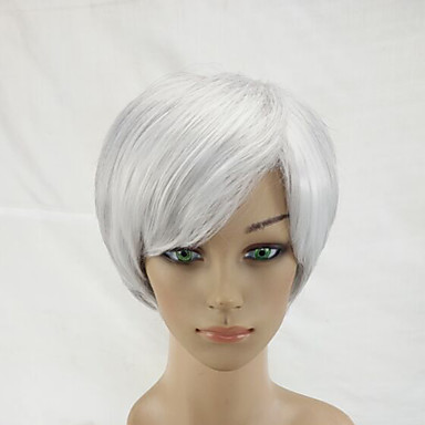 Synthetic Wig Straight Pink Synthetic Hair Pink / Gray Wig Short Capless