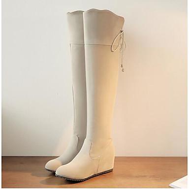 Damen Schuhe Nubukleder PU Herbst Winter Komfort Stiefel Für Normal Schwarz Beige Rosa