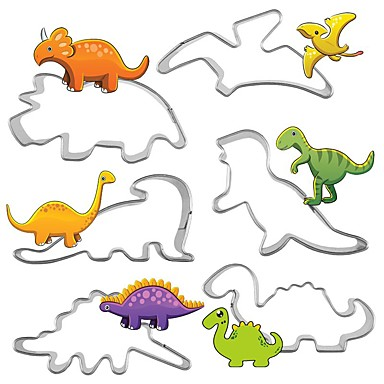 6Pcs/Set Stainless Steel Dinosaur Animal Fondant Cake Cookie Biscuit Cutter Decorating Mould Tools