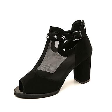 Women's Shoes Breathable Mesh / PU(Polyurethane) Spring / Summer Comfort / Gladiator Sandals Chunky Heel Peep Toe Beading / Buckle Black