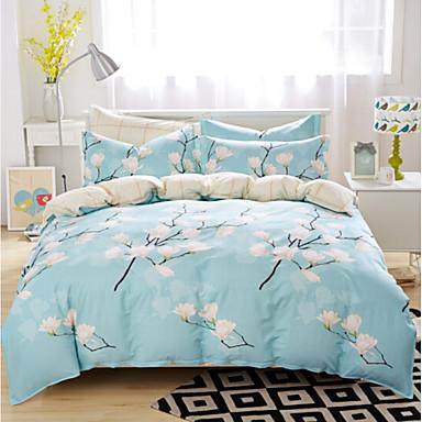 Pflanzen Polyester / Baumwolle Druck Polyester / Baumwolle 4-teilig (1 Bettbezug, 1 Bettlaken, 2 Kissenbezüge)