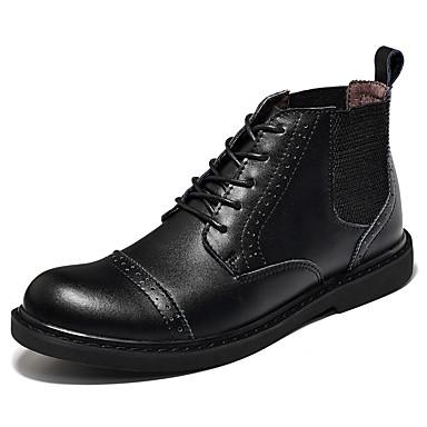 للرجال أحذية جلد خريف شتاء مريح كتب دانتيل إلى فضفاض أسود بني