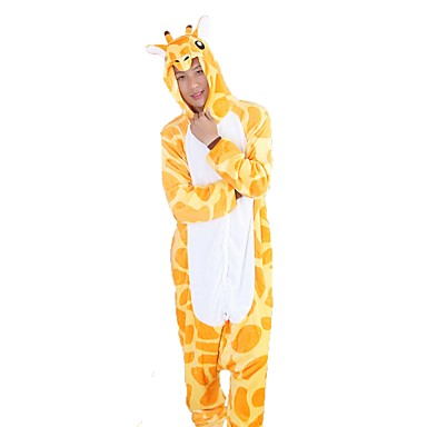 Adults' Kigurumi Pajamas Giraffe Onesie Pajamas Flannel Fabric Yellow Cosplay For Men and Women Animal Sleepwear Cartoon Halloween Festival / Holiday
