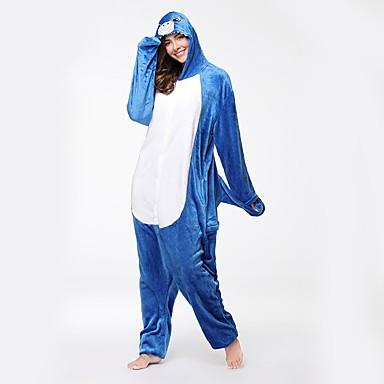 Cipők / Kigurumi pizsama papuccsal Shark Onesie pizsama Jelmez Φανελένιο Ύφασμα Kék Cosplay mert Felnőttek Allati Hálóruházat Rajzfilm
