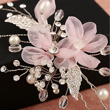 Tüll Künstliche Perle Strass Netz Aleación Blumen Kopfbedeckung Haarklammer with Blumig 1pc Hochzeit Besondere Anlässe Geburtstag Party /