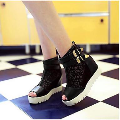 Damen Schuhe PU Sommer Komfort High Heels Für Normal Weiß Schwarz Beige