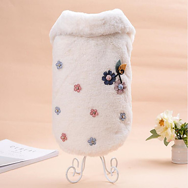 Cat Dog Sweatshirt Dog Clothes Floral/Botanical Beige Coffee Flannel Fabric Costume For Pets Casual/Daily Keep Warm Wedding New Year's